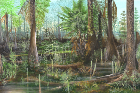 Depiction of a Carboniferous scene containing Lepidodendron by Mary Parrish, Smithsonian