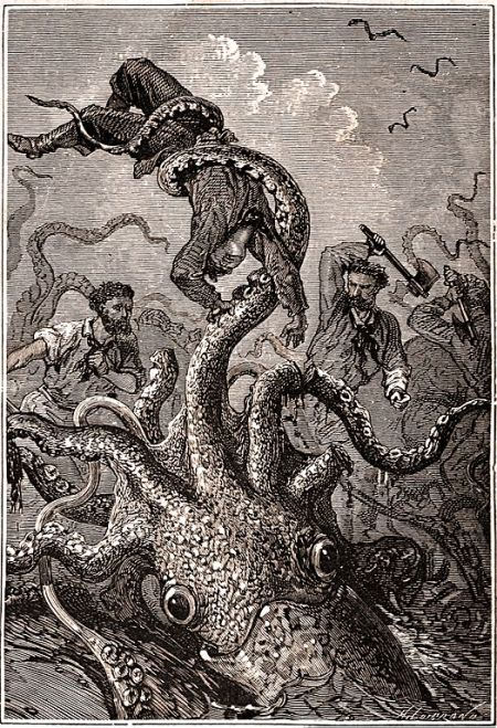 Squid holding sailor by Alphonse de Neuville & Édouard Riou, from Hetzel edition of 20000 Leagues Under the Sea, p. 400.
