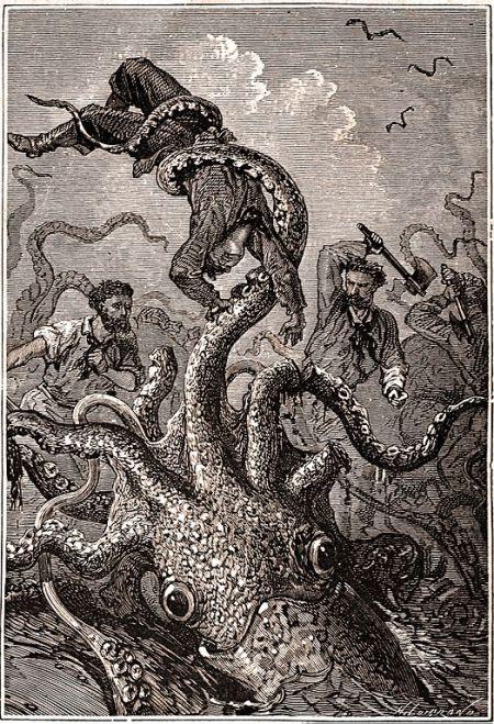 Squid holding sailor by Alphonse de Neuville & Édouard Riou, from Hetzel edition of 20000 Leagues Under the Sea, p. 400.